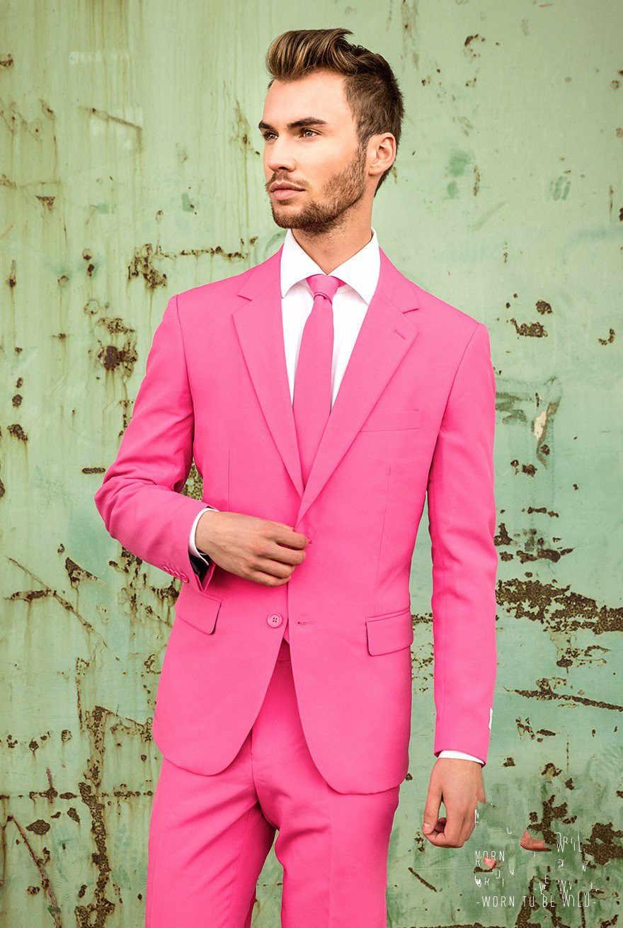 Neuesten Mantel-Hose Designs Pink Männer Anzug Slim Fit 2 Stück Freizeit Tuxedo Benutzerdefinierte Mode Partei Anzüge Terno Masculino jacke + Hose