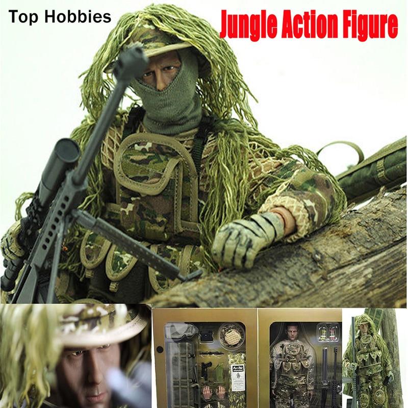 цена на 30cm Height 1/6 Scale Military Set Uniform doll Jungle Sniper Soldier Model army Toys Combat Super Flexible 12action figure
