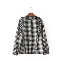 Dioufond Plaid Embroidered Ruffles Women Shirts Long Sleeve Ruffled Collar Ladies Tops Blusas Autumn Fashion Blusa