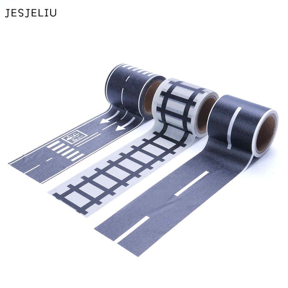 JESJELIU Railway Road Washi Tape Sticker Wide Traffic Adhesive Masking Tape Scotch Road Kid Car Play Gift jesjeliu 20x colorful polaroid masking