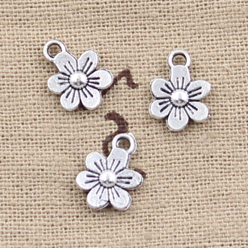 50pcs Charms Double Sided Flower 12x9mm Antique Silver Color Plated Pendants Making DIY Handmade Tibetan Silver Color Jewelry 1