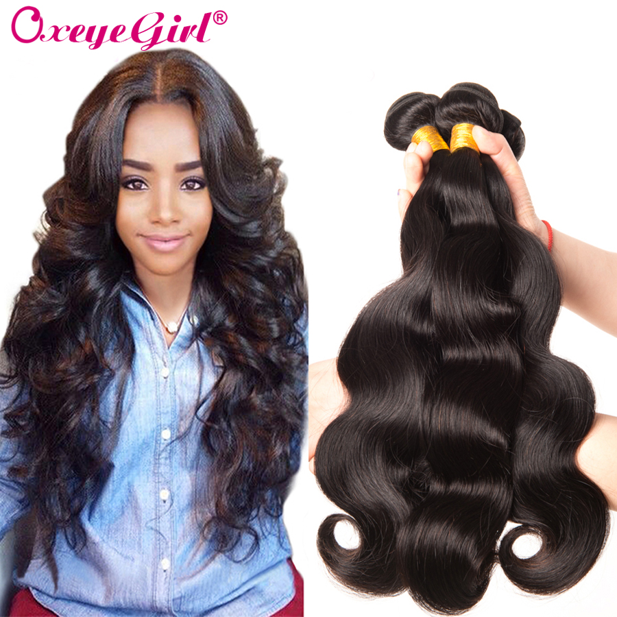 "Body Wave Bundles Brasilian Hair Weave Bundles 1/3/4 PC 100% Mänskliga Hårförlängningar 10 ""-28"" Non Remy Hair Natural Color Oxeye Girl"