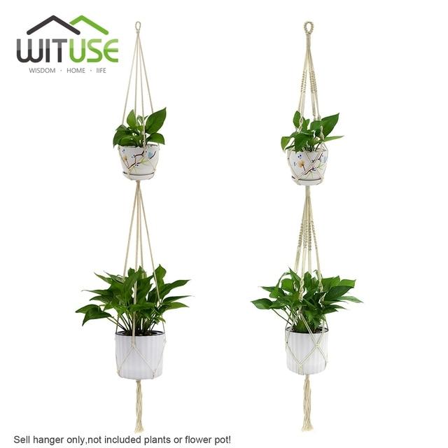 WITUSE 2-Layers Hanging Plant Hanger Pot Holder Hooks Cotton Linen Rope  Handmade Macrame Basket