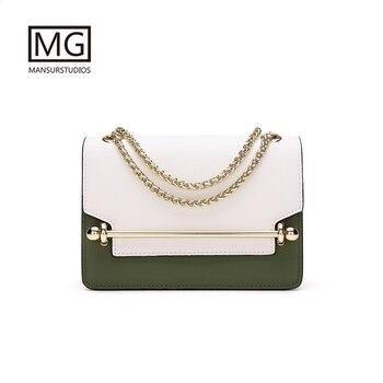 Mansurstudios Luxury brand cross-body  bag split leather women chain shoulder Bags, free shipping
