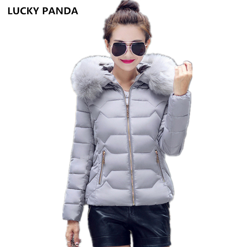 Lucky Panda 2016 Autumn and winter cotton padded short down jacket dress Korean slim warm big fur coat thick thin LKP244 lucky panda 2016 the new winter coat and female slim in the long and small lattice fragrant cotton lkp243
