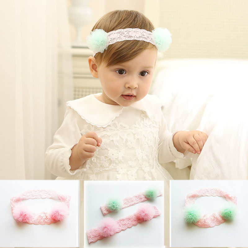 New Lovely Gauze Pom Pom Girls Soft Headbands  Fairy Elastic Hair Bands Cute Princess Lace Headwear for Kids Hair Accessories new novelty princess hair accessories elsa anna elastic hair bands flower hair rope lovely headwear party gifts for girls
