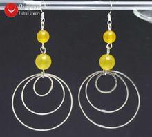 Женские серьги кольца qingmos диаметром 8 10 мм желтые круглые