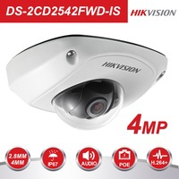 HIKVISION CCTV IP Camera DS 2CD2542FWD IS 4MP Mini Dome Camera Built in SD Card Slot Indoor/Outdoor PoE IP Camera