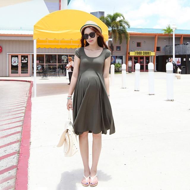 a8ec166e026a3 2018 New Maternity Clothes Summer Dress Comfortable Solid Color Dress Women  Plus Size Pregnancy Clothes Maternity Dresses
