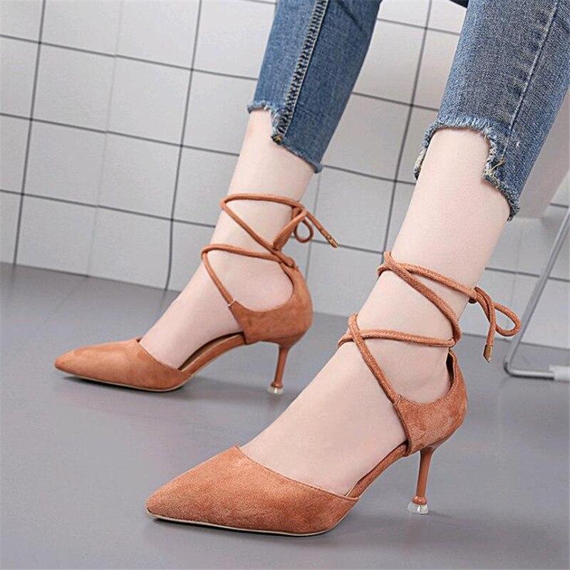 Zapatos Mujeres La Beige De Boca Bien Baja negro Sandalias Señaló Mujer Tacón Correa Alto rosado Con Sexy 2019 Huecas vqtn4xwaIz
