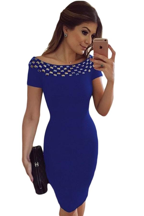 Studded-Off-Shoulder-Blue-Short-Sleeve-Bodycon-Dress-LC61188-5-1
