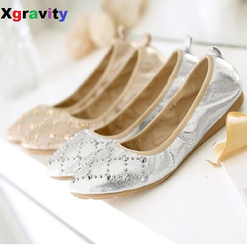 New Spring Summer Lady Fashion Foldable Women Shoes Elegant Rivets Design Pointed Toe Flat Shoes Soft Comfort Ladies Flats C030 new 2017 spring summer women shoes pointed toe high quality brand fashion womens flats ladies plus size 41 sweet flock t179