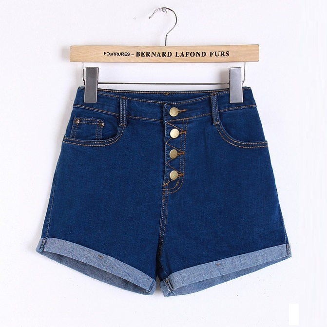 Aliexpress.com : Buy 2016 Dark blue High Waisted Denim shorts ...