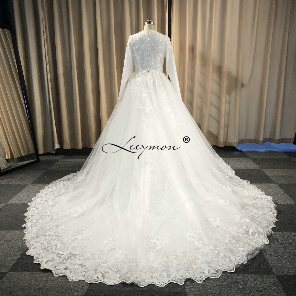Leeymon μακρύ μανίκι Vintage δαντέλα νυφικό - Γαμήλια φορέματα - Φωτογραφία 6