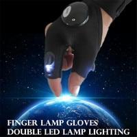 야외 손가락 LED 램프 러닝 장갑 낚시 매직 스트랩 야간 라이딩 장갑 LED 손전등 캠핑 하이킹 조명 다목적