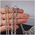 2/3/4/5mm Hot Fashion DIY Jewelry 316L Stainless Steel Silver Cross Chain Mens Womens Necklace Not Fades In Bulk 5/10Meter/Lot