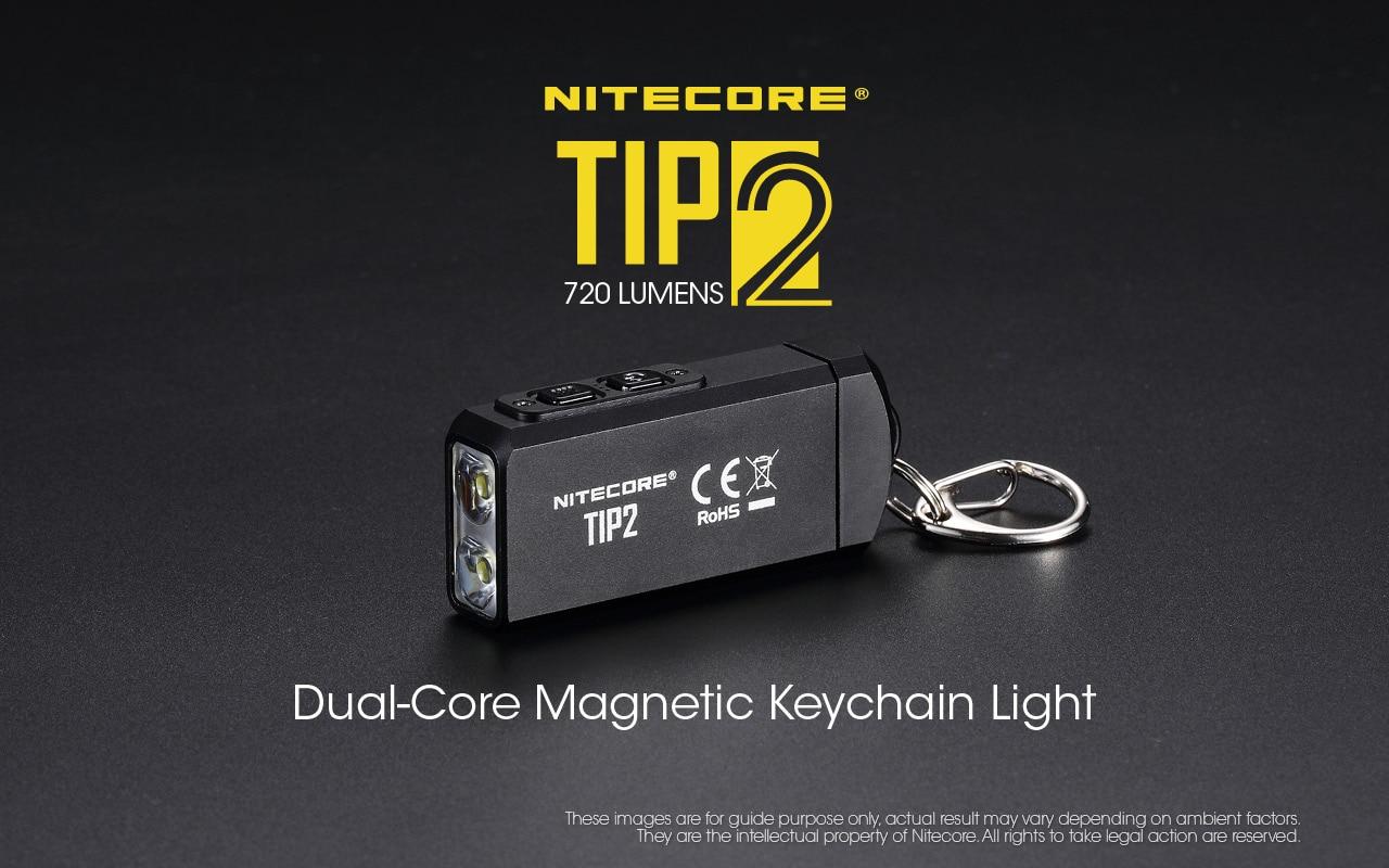 100% Original Mini Light NITECORE TIP2 CREE XP-G3 S3 720 Lumen USB Rechargeable Keychain Flashlight With Battery