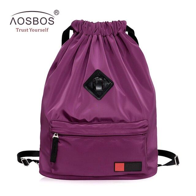 Aosbos Women Waterproof Nylon Drawstring Backpacks Female Casual Lightweight  Folding Solid Travel Backpack Bag for Girls Ladies ffe150c1f423f