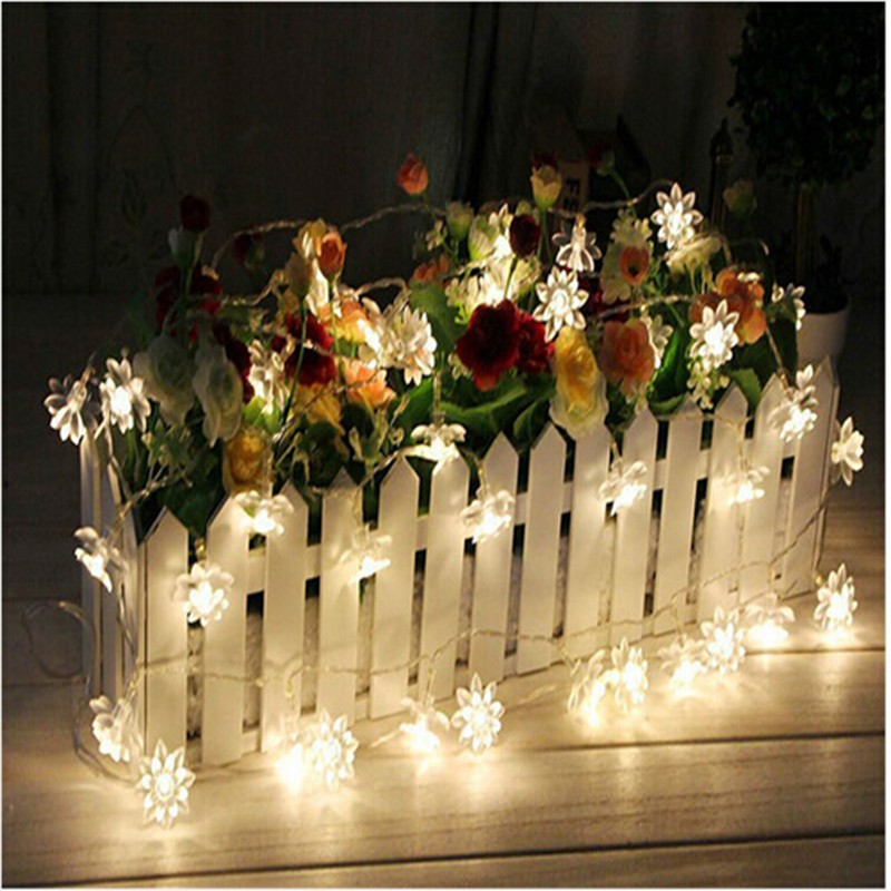 AC220V Warm White 5M 28Led Fairy String Lights Lotus Flower Indoor Window Home Christmas Tree Party Patio Decoration