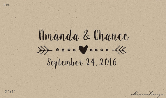 Wedding Rubber Stamping.Arrow With Heart Save The Date Custom Wedding Rubber Stamp Name Ang
