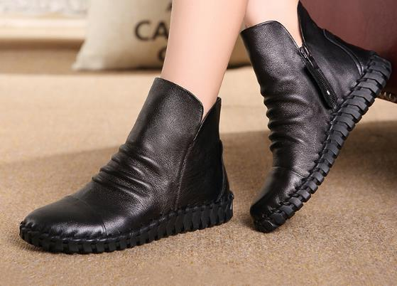 48536f2a8ea7 Genuine Leather Short Boots Plus Velet Winter Women s Shoes Cowhide  Handmade Sewing Lazy Shoes Maternity Shoes Flat Boots-in Ankle Boots from  Shoes on ...