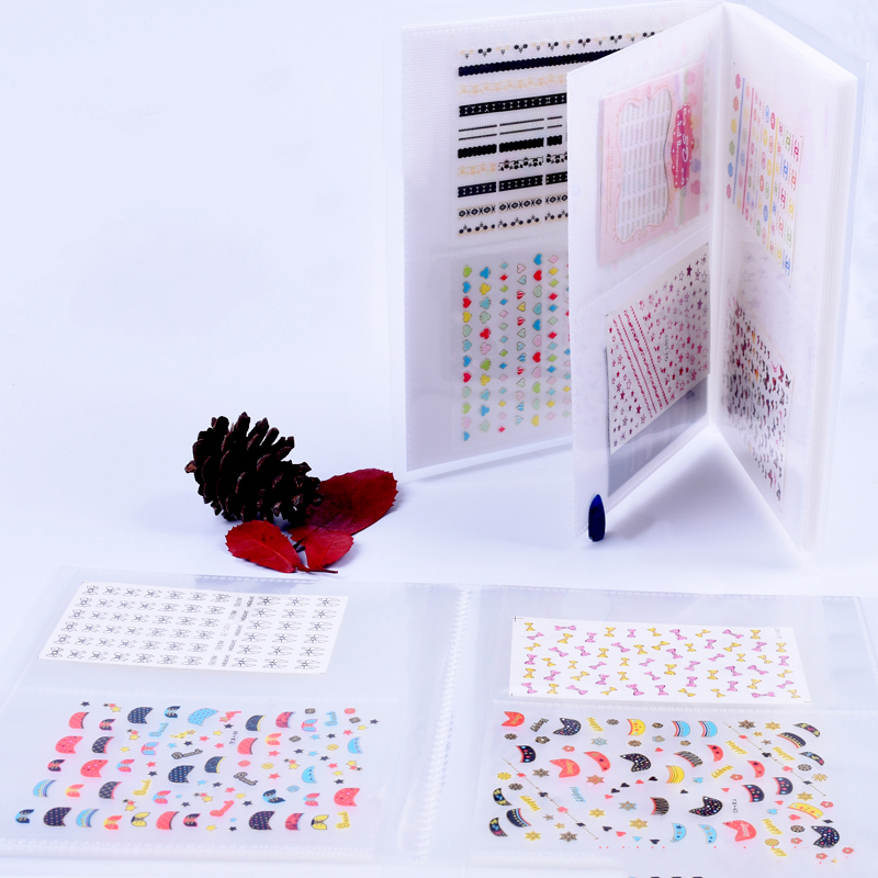 20 Pages Transparent 3D Nail Sticker Water Decal Collecting Albums Translucent Storage Holder Manicure Nail Art Display Book fwc new fashion lovely sweet water transfer 3d grey cute cat nail art sticker full wraps manicure decal diy 139