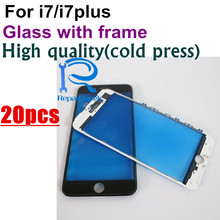 20pcs Premium AAA Cold Press Quality For iPhone 7 7G / 7 plus Front Outer Glass Lens with Middle Frame Bezel black white Replace