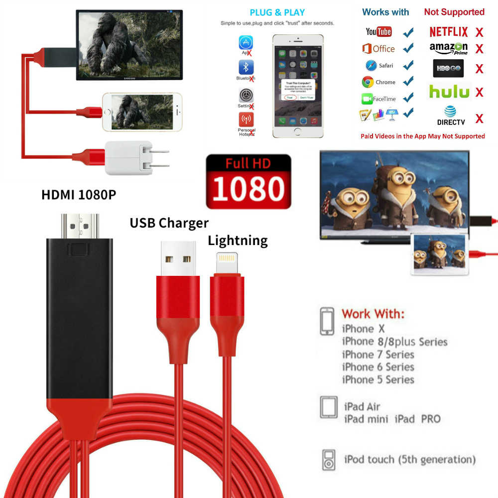 8 Pin untuk HDMI Kabel HDTV TV Digital AV Adaptor USB HDMI 1080 P Smart Converter Kabel untuk iPhone X 8 7 7 Plus 6 S 6 5s Ios 8.0 +