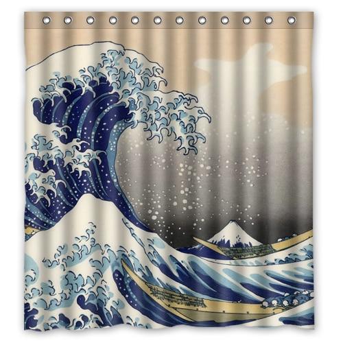 Hokusai Custom Shower Curtain
