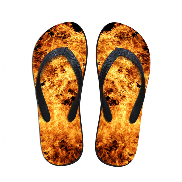 bb943fb99e4657 New Arrival Men Shoes Unique Fire Print Beach Flip Flops Anti-slip Casual  Flat Sandals Men House Leisure Slipper Male Size 7-12