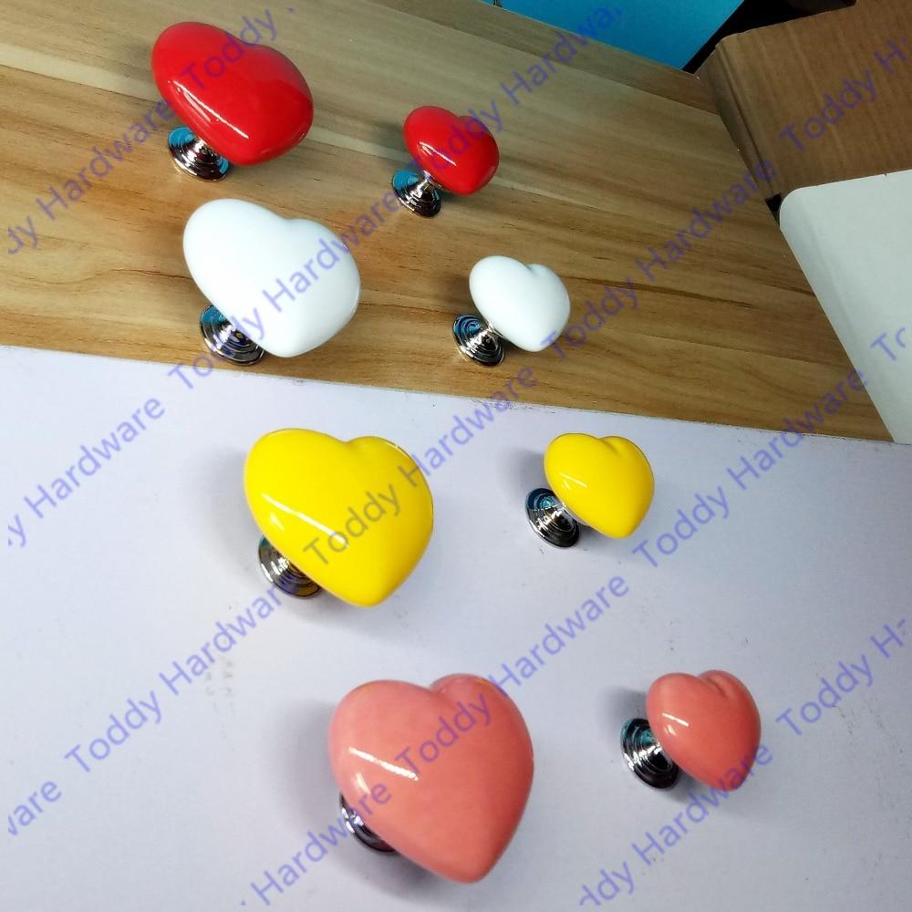Size 36mm 50mm Heart Shape Kids Nursery Drawer Knobs Ceramic Porcelain Hardware Kitchen Cabinet Dresser Drawer