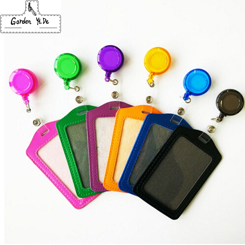 Cheap Bank Credit Card Holders PU Card Bus ID Holders Identity Badge with Retractable Reel wholesale 0023 fhadst no zipper cheap bank credit card holders bus id holders identity red yellow blue badge with retractable reel wholesale