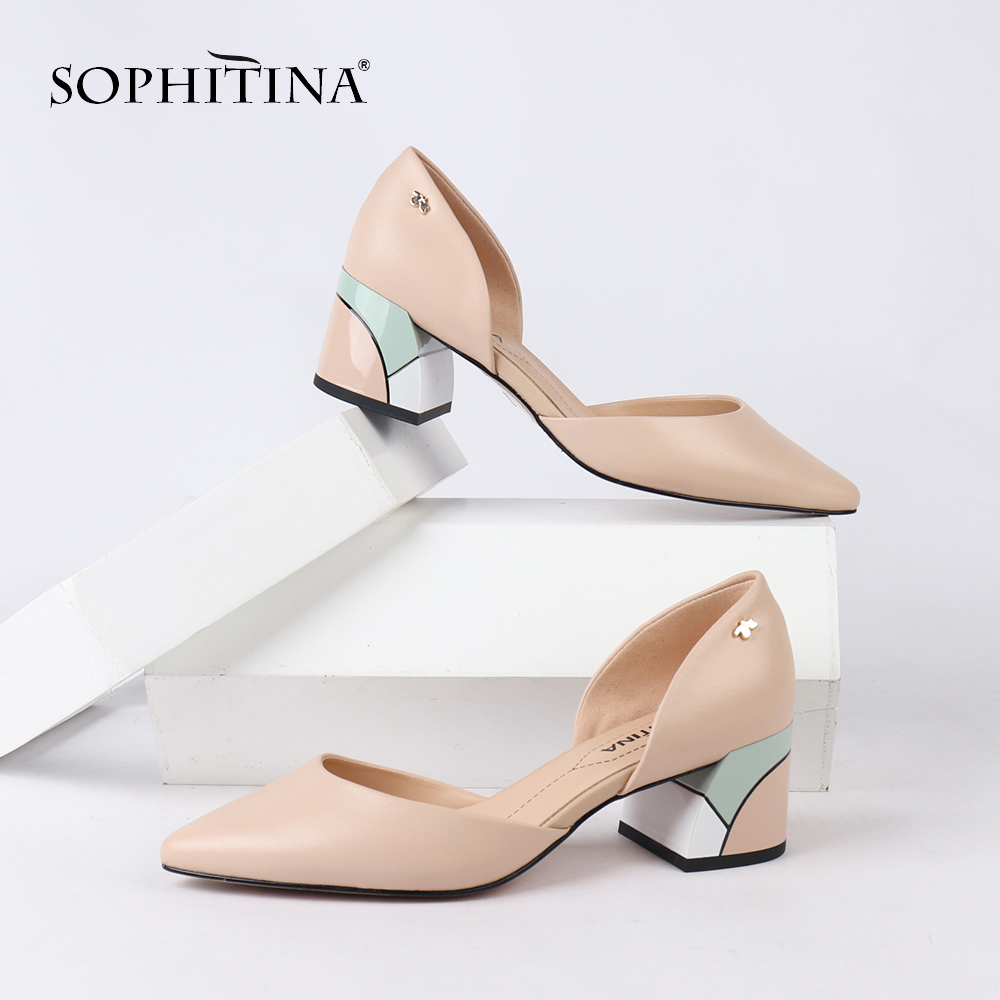 SOPHITINA Comfortable Women's Pumps Square Heel High Quality Genuine Leather New Shoes Design Hot Sale Mixed Colored Pumps MC162(China)