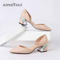 SOPHITINA Comfortable Women's Pumps Square Heel High Quality Genuine Leather New Shoes Design Hot Sale Mixed Colored Pumps MC162