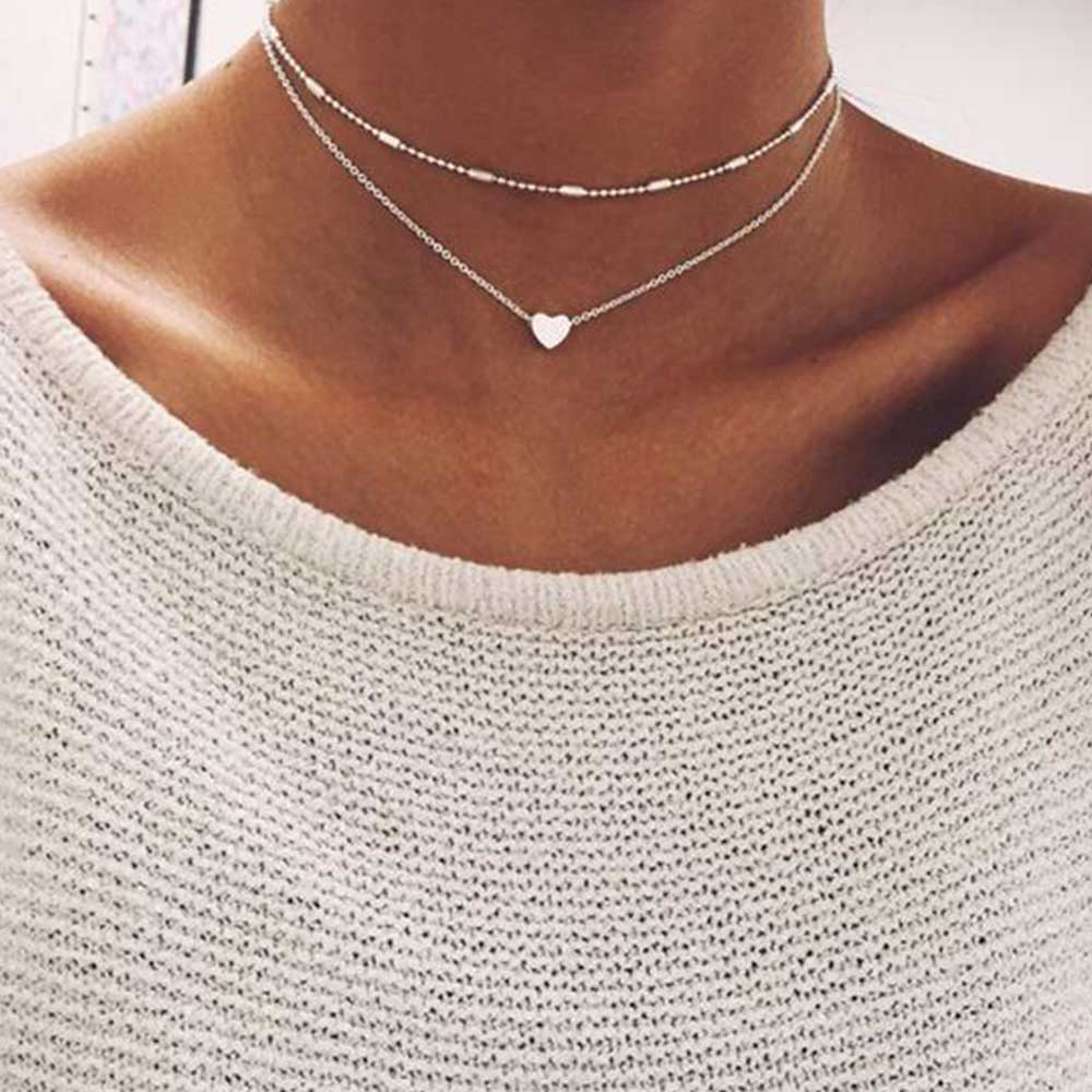 FAMSHIN Gold Silver Color Jewelry Love Heart Necklaces Pendants Double Chain Choker Necklace Collar Women Jewelry Gift