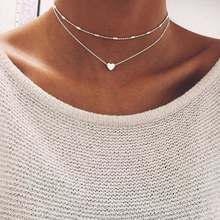 FAMSHIN Fashion Gold Silver Color Jewelry Love Heart Necklaces & Pendants Double Chain Choker Necklace Collar Women Jewelry Gift(China)