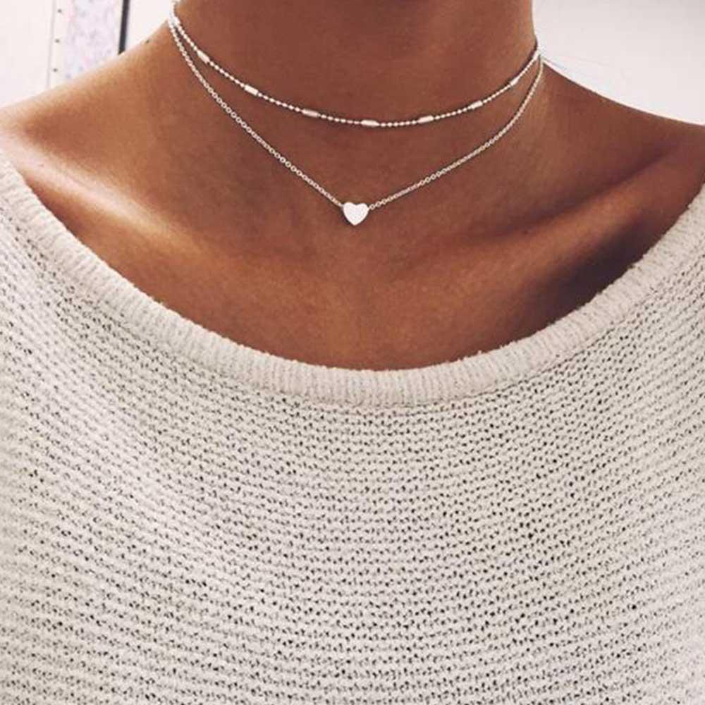 FAMSHIN de oro de moda de Color de plata joyería amor corazón collares y colgantes doble Collar de Gargantilla de cadena, Collar de joyería de las mujeres de regalo