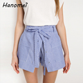 New Faux Two Piece Striped Women's Shorts High Waist Short Feminino 2017 Double Pockets Drawstring Buttons Women Shorts C478