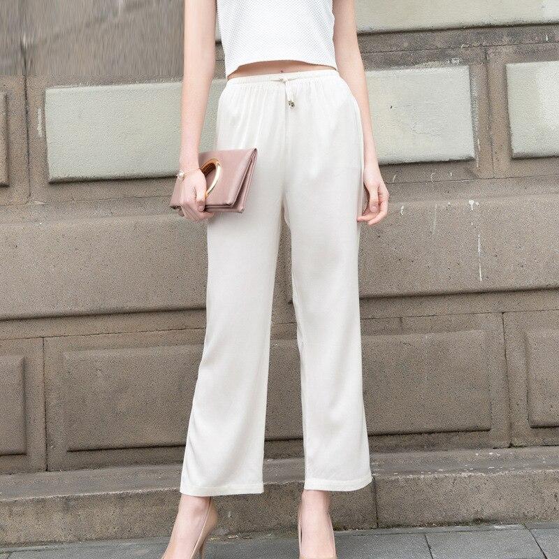 Sprzedaż hurtowa kobiet prawdziwego jedwabiu spodnie wysokiej talii luźne spodnie na co dzień pełnej długości spodnie damskie spodnie wygodne kobiece Plus OL spodnie 605 w Spodnie i spodnie capri od Odzież damska na  Grupa 1