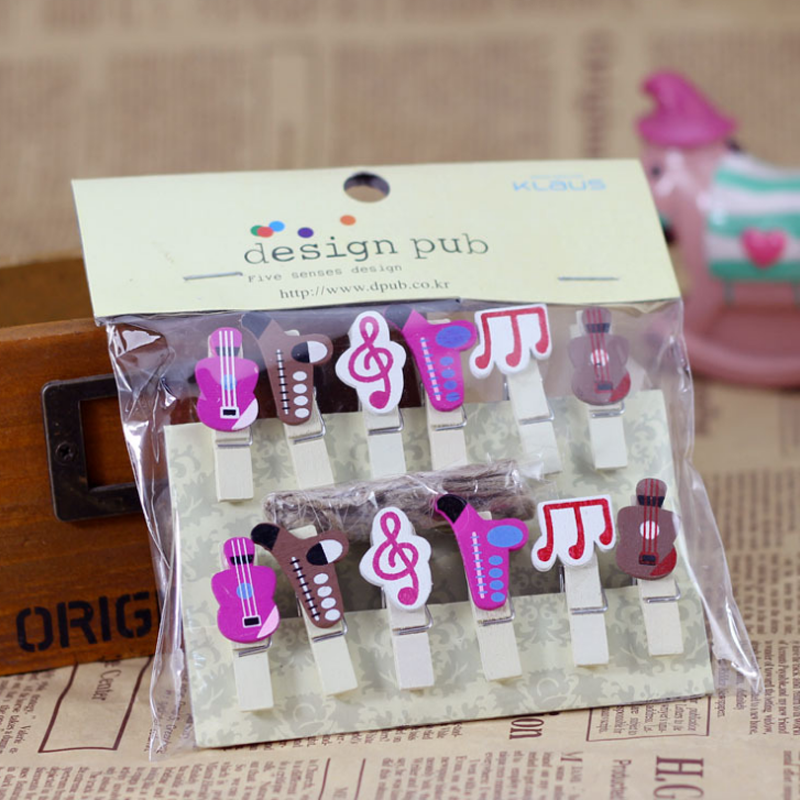 12 Pcs/pack Cute Musical Note Wooden Clip Photo Paper Clothespin Craft Clips Party Decoration Clip With Hemp Rope Stationery