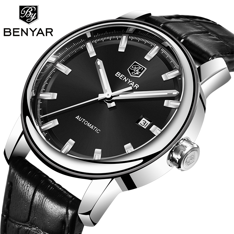 BENYAR 2019 New Mens Watches Top Luxury Brand Casual Black Mechanical Watch Waterproof Leather Sport Watch Men Relogio MasculinoBENYAR 2019 New Mens Watches Top Luxury Brand Casual Black Mechanical Watch Waterproof Leather Sport Watch Men Relogio Masculino