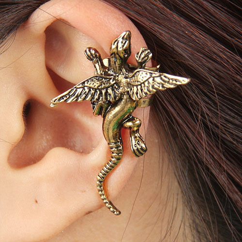 C130 Hot New Style Fashion Vintage Monsters Pterosaur Ear Cuff Punk Dragon Clip Earring Statement Jewelry For Women Girl Gift