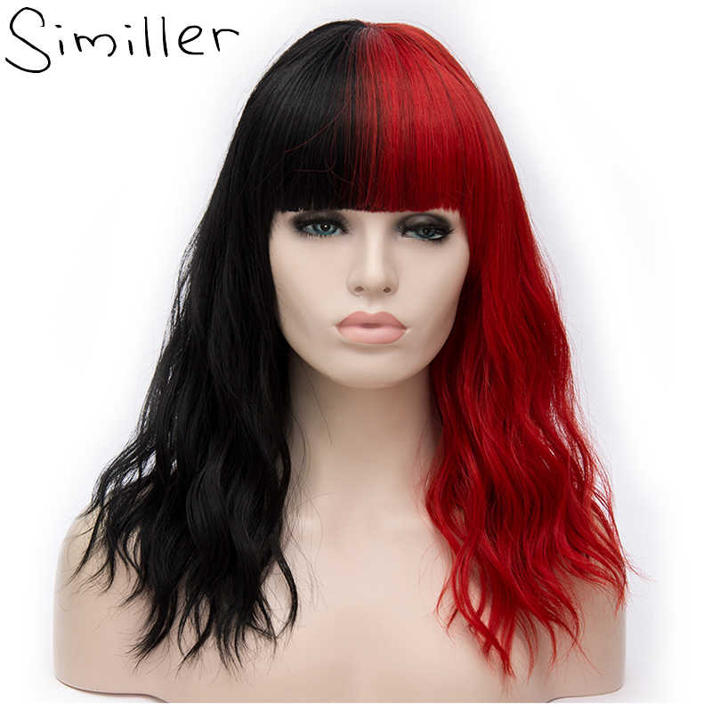 Similler Cosplay Kinky Curly Short Women Synthetic Wig Ombre Red Pink Grey Heat Resistance Fiber Hair with Bangs