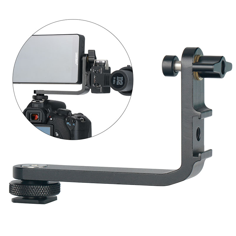 Mic soporte L soporte Grip Handle cámara de Monitor cardán llevó Luz de vídeo micrófono montaje con 2 zapato fría para cámara DSLR