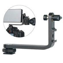 Support de micro L support caméra poignée poignée pour moniteur cardan LED lumière vidéo Microphone montage avec 2 chaussures froides pour appareil photo reflex numérique