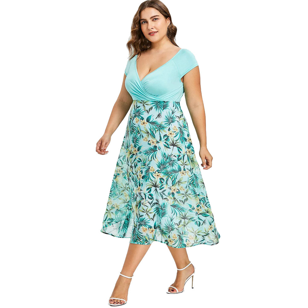 women dress summer 2018 Women Midi Dresses V Neck Wrap Chiffon Short Sleeve women dress plus size Jn.7