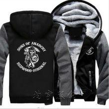 bd544cd5 Мужская мода плюс бархатные утепленные толстовки с капюшоном зимний  Кардиган Куртка сыновья анархия Samcro Jax Принт толстовки к.