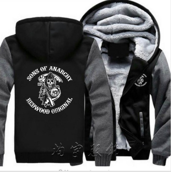 Mens Fashion Plus Velvet Thicken Hooded Sweatshirts Winter Cardigan Jacket Sons Anarchy Samcro Jax Print Hoodies Jacket Coat