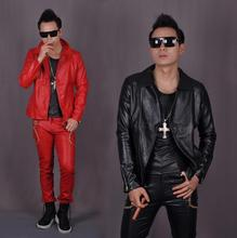 Black red personalized Skull men's leather jackets male fashion men motorcycle faux leather short coat slim for the man show