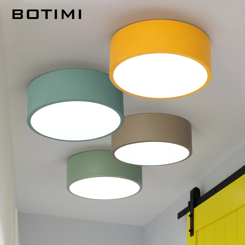 BOTIMI New Arrival LED Ceiling Lights Colorful Ceiling Lamp For Corridor Colors Kids Room Light Metal Lampshade Kitchen Lighting